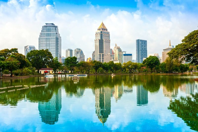 View of the Bangkok skyline from Lumpini Park